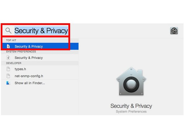 Type Security & Privacy in the search field and click on the top result.