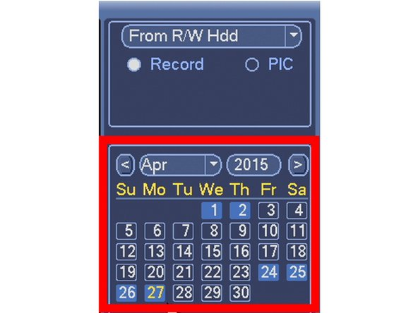 Select the date you want to search using the Calendar.
