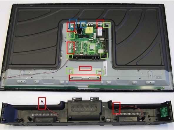 Remove cables: Remove all twelve connectors (highlighted in red boxes) and rip off the tapes used to fix the cables to the metal frame.