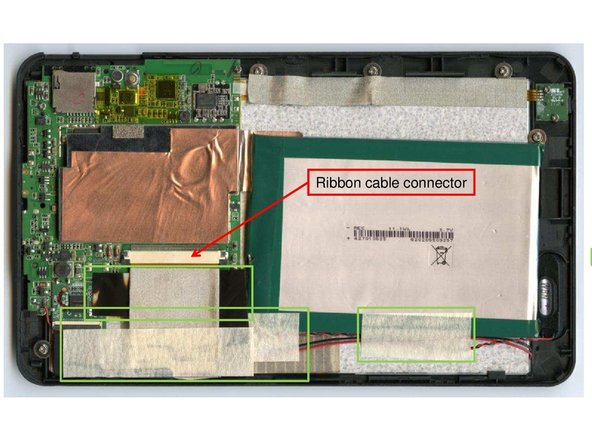 Once the back-cover is removed, three cables need to be loosened before removing the battery is possible.  The cables are fixed with three adhesive patches as indicated in the figure.