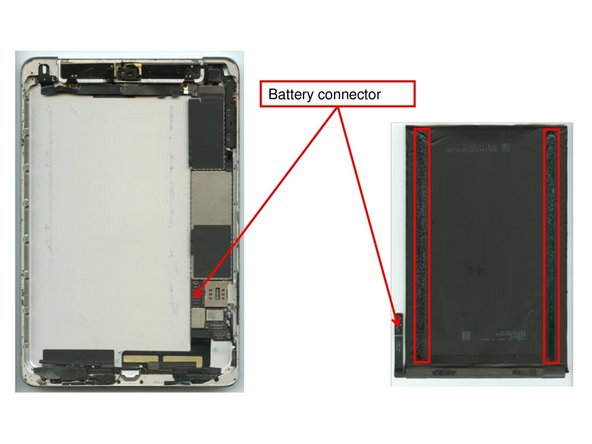 Once the display unit has been removed and the battery connector has been unplugged, the heat gun has to be used to warm up the adhesives that hold the battery fixed to the device.